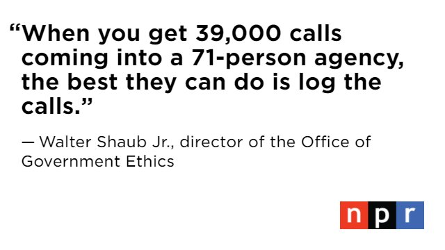 Head of the Office of Government Ethics says his agency has been inundated with concerns over Trump administration https://t.co/FiIwA1IdBi