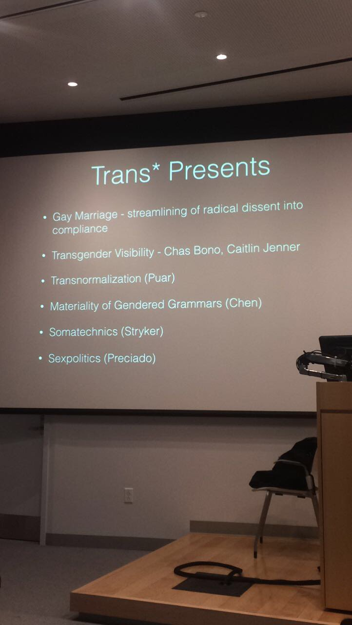 .@Jhalberstam offers a list of frameworks, thinkers for thinking through trans* presents #halberstamatbrown https://t.co/lJYPQbsLiD