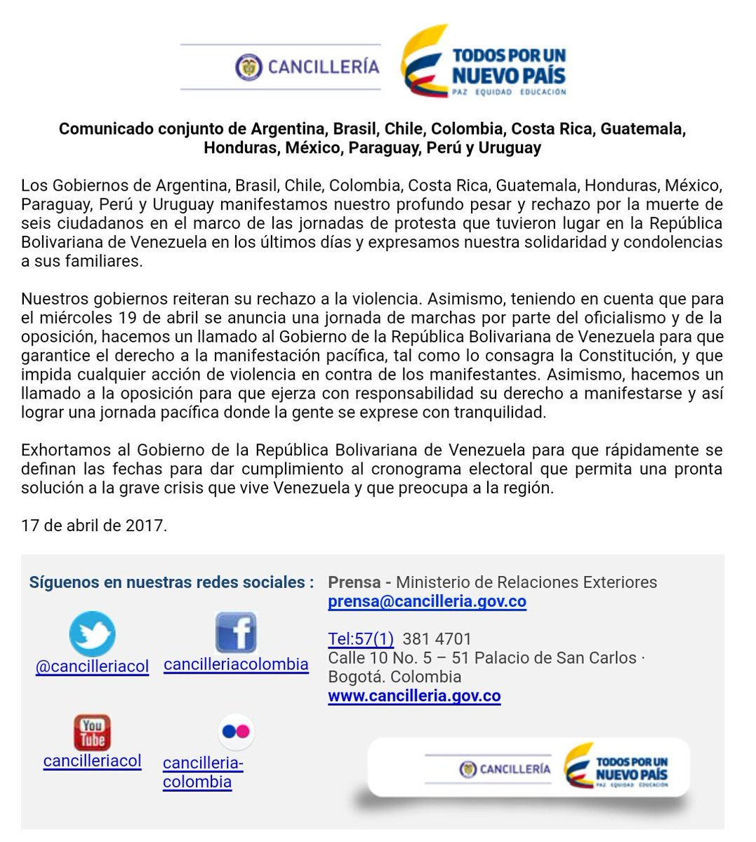 8593abc07 Cancillería Colombia on Twitter