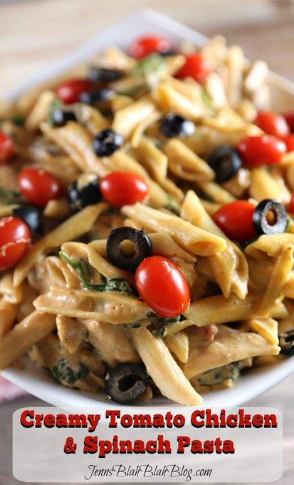 Creamy Tomato Chicken & Spinach Pasta