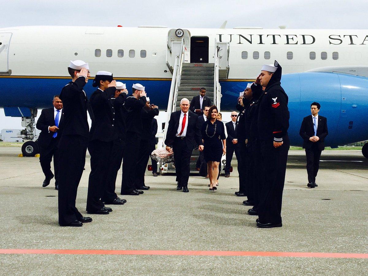 Hasil gambar untuk Vice President Mike Pence arrived in Japan