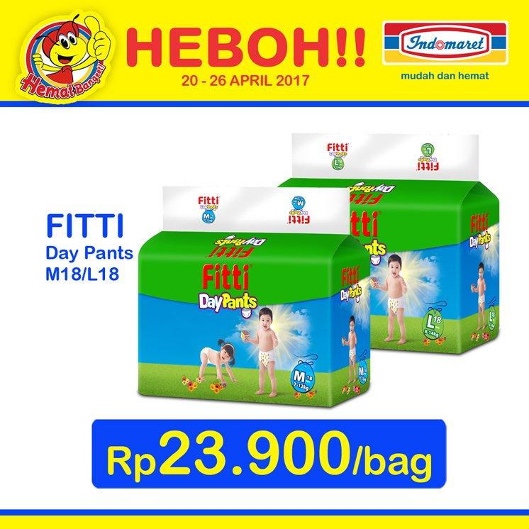 "Indomaret on Twitter: ""FITTI Day Pants M18/L18 hanya Rp 23.900/bag periode 20 - 26 April 2017 #HargaHeboh… """