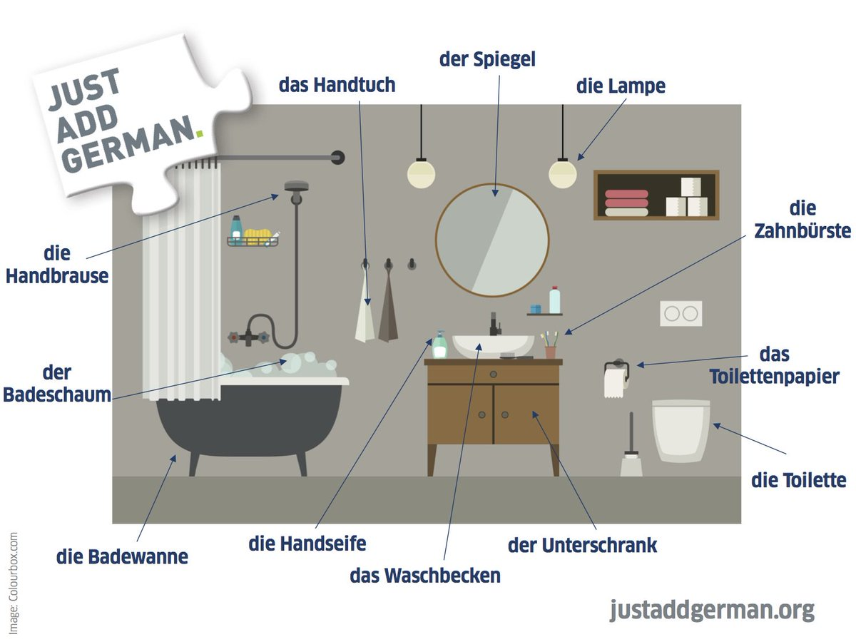 Just Add German On Twitter Learngerman Expand Your Of Bathroom ...