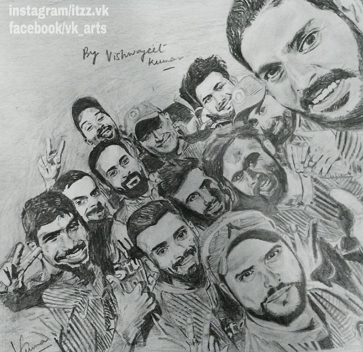Vk arts on twitter victory✌ sketch yuvrajsingh viratkohli msdhoni sureshraina n luv u all proud selfie teamindia indveng t20 cricket sketch