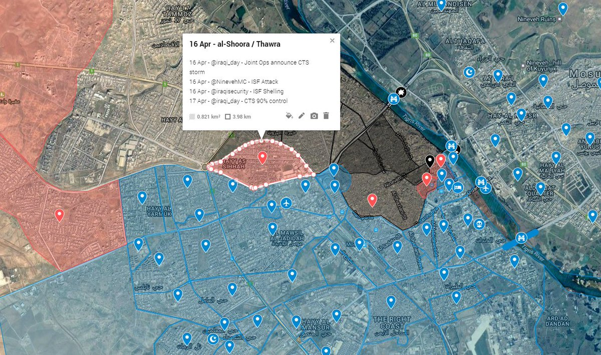 CTS control 90% of Mosul's Thawra (aka al-Shoora) neighbourhood  and @ArmY_Iq 9th Div has 30% Mashrifa