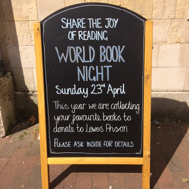Join us for World Book Night: Donate a copy of your favourite book in store, and a note on why you love it! Donations going to Lewes Prison. https://t.co/3uTGcrZchd