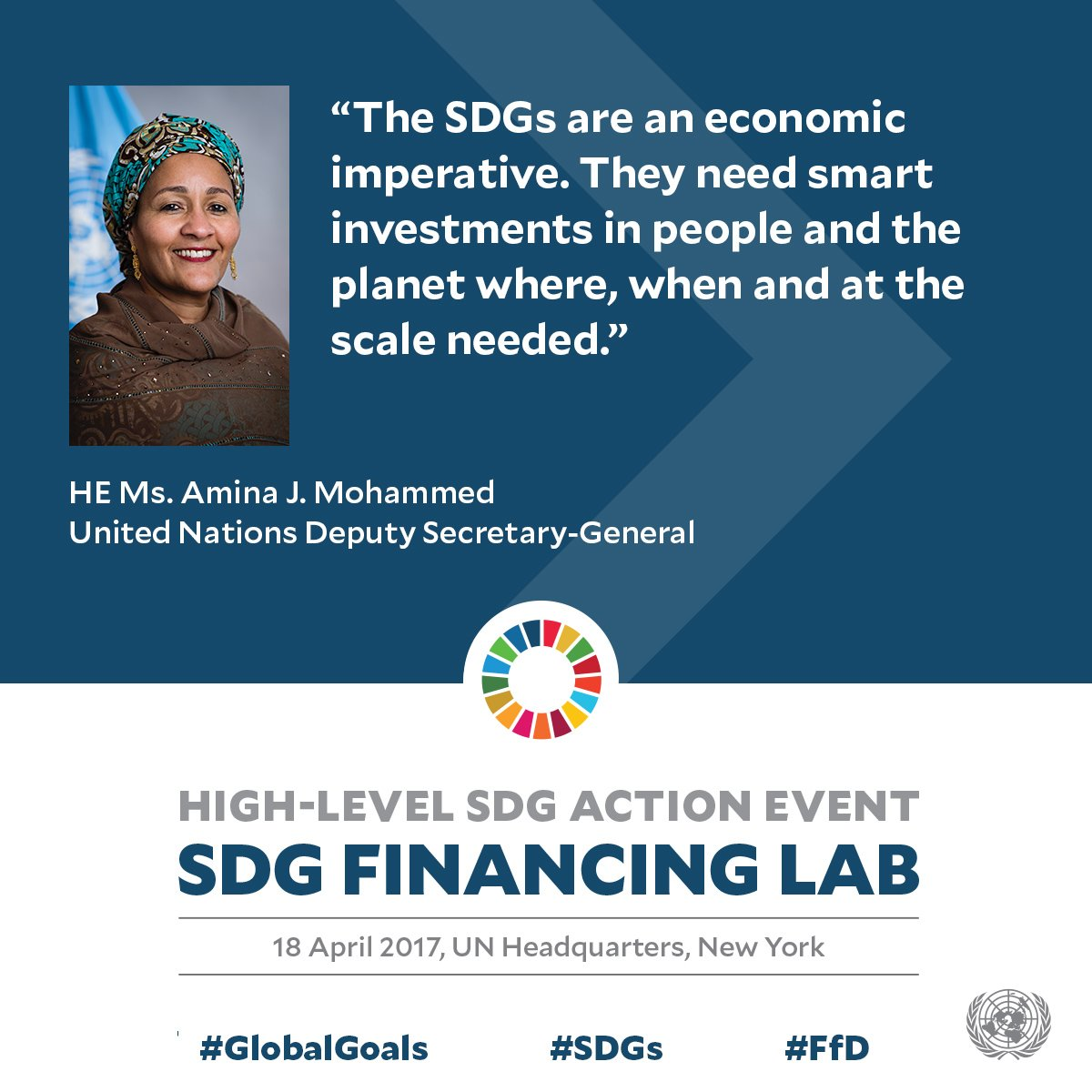 """The #SDGs are an economic imperative"" - UN Deputy-Secretary General at #SDGFinancing lab. Watch live at https://t.co/1Wh5hlXHp8 #ffd https://t.co/zzSUxE6rLK"