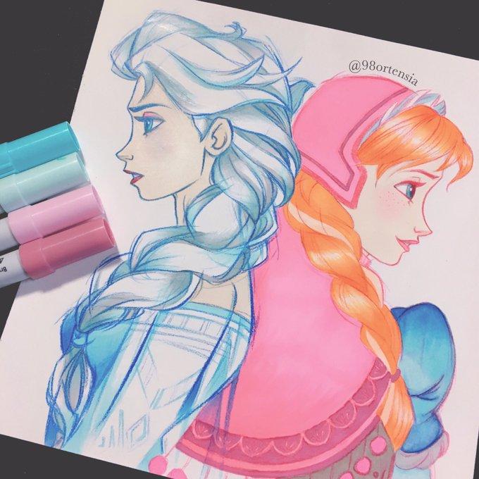 1枚目が今回で2枚目が前回色も塗った🎨💕 ディズニー ディズニープリンセス エルサ アナ イラスト 手描き ディズニー好きと繋がりたい  https//t.co/voe0qZyPLg