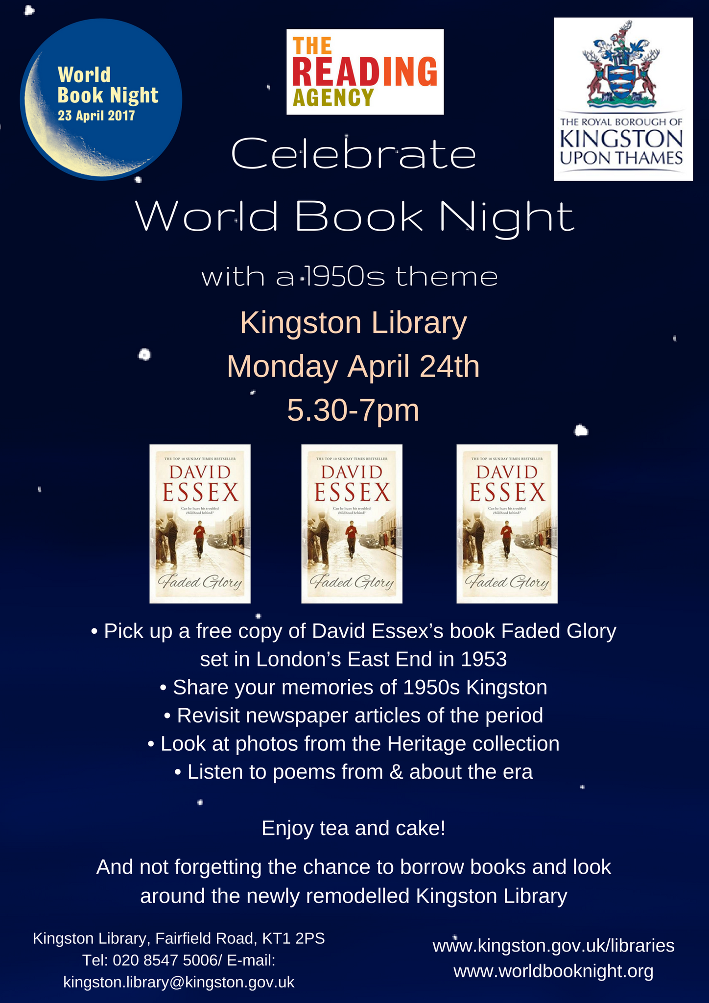 Great event coming up on 24th April  @WorldBookNight @KingstonLibrary @DavidEssexNews .All welcome #WorldBookNight https://t.co/HSOrGi7VCc