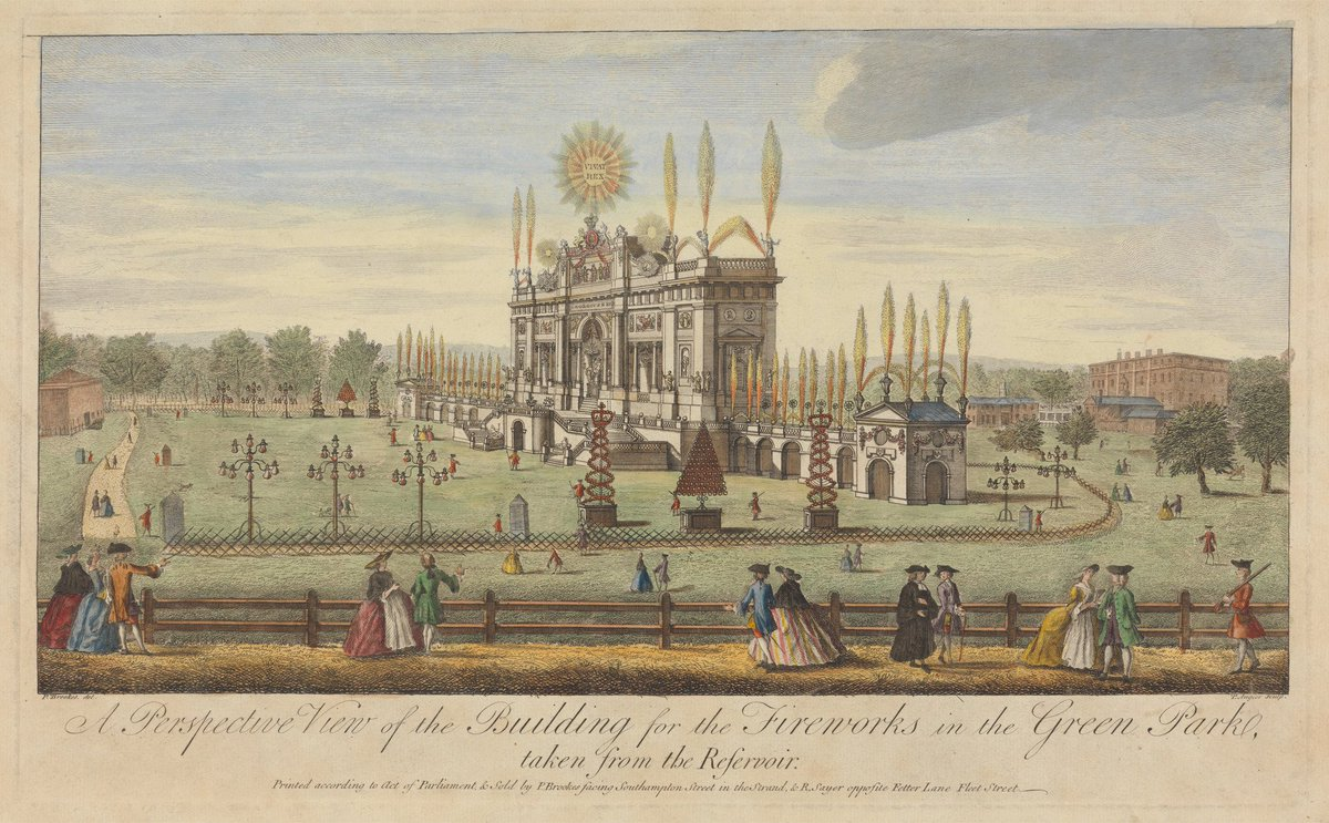 GreenPark #London 1749 from reservoir, front of park entrance to the Underground now. Paul Angier @YaleBritishArt collections.britishart.yale.edu/vufind/Record/…