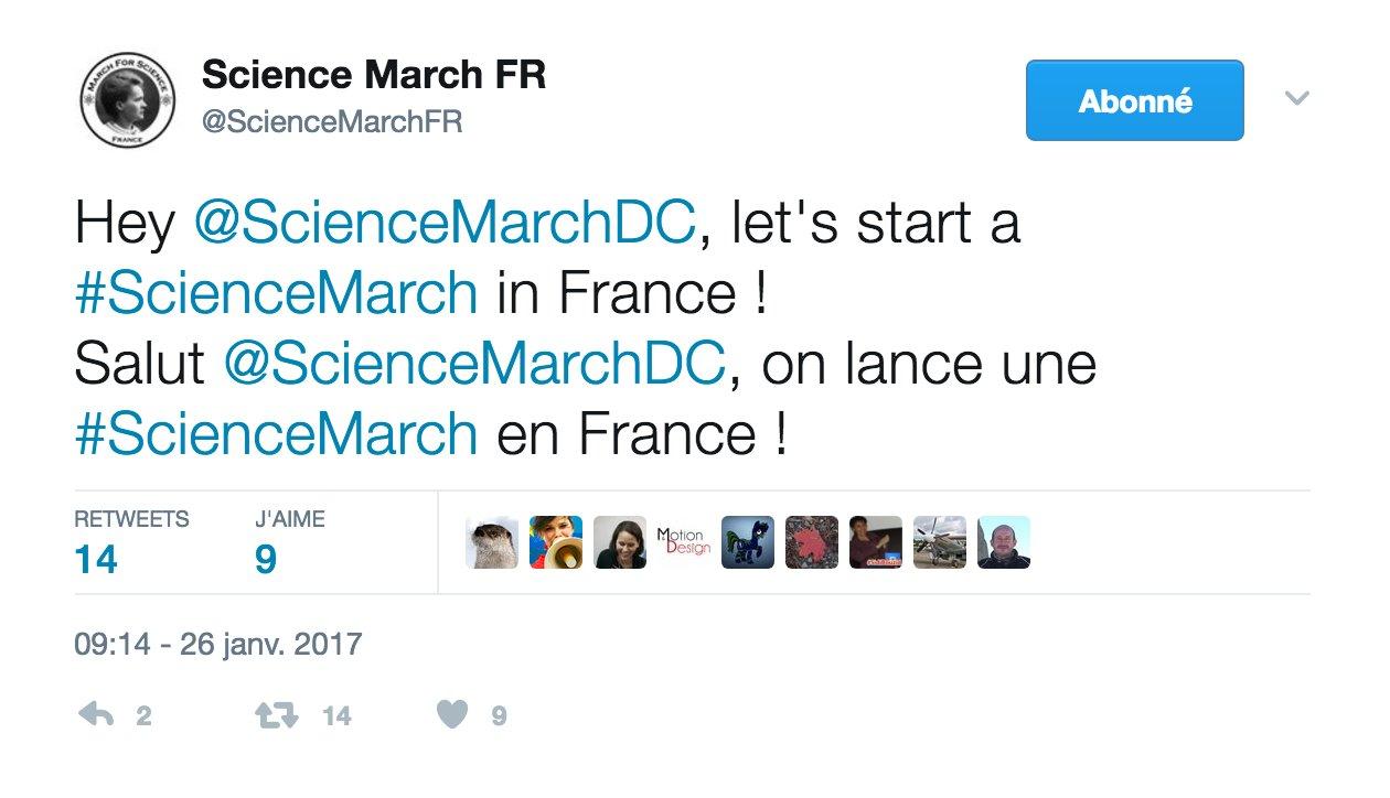 Dès le 27 janvier, quelques chercheurs et acteurs #scicomm se sont organisés sur les réseaux sociaux pour organiser une marche en France https://t.co/kcDuD3rwZA