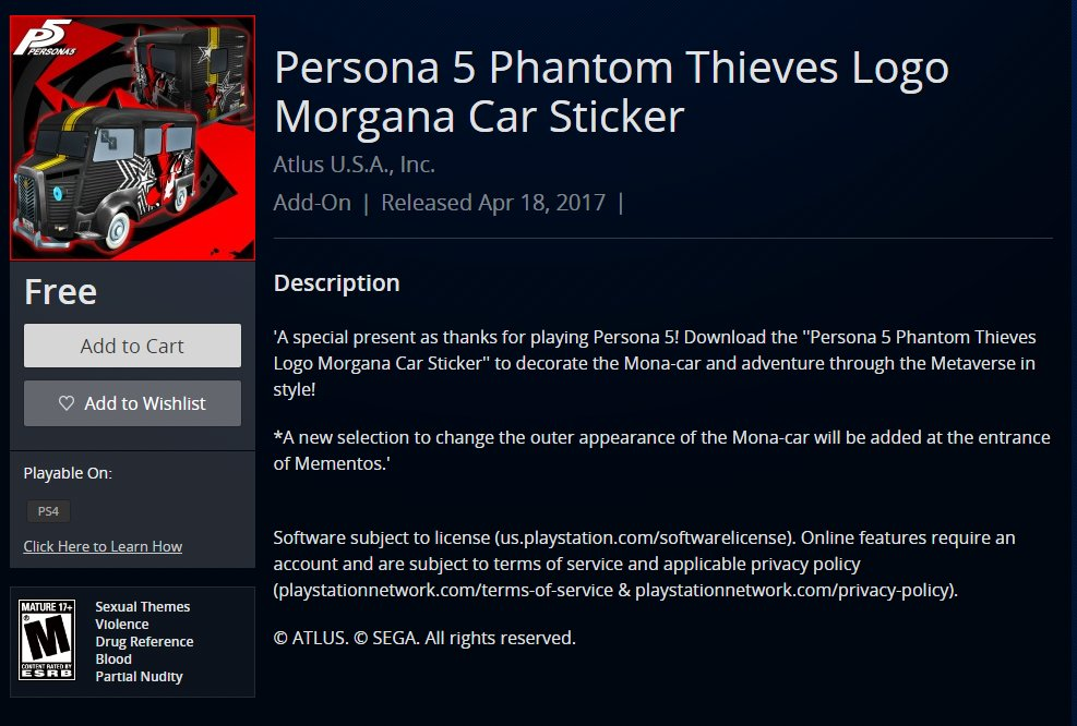 Wario64 on twitter persona 5 phantom thieves logo morgana car sticker is free on us psn https t co aocigl5zv3