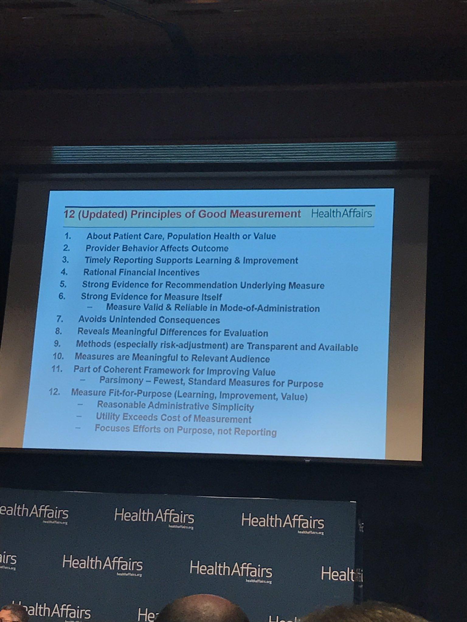 Updated Principles of Good Measurement slide from Jonathan Perlin #valuepayment https://t.co/vqh3h5geWC