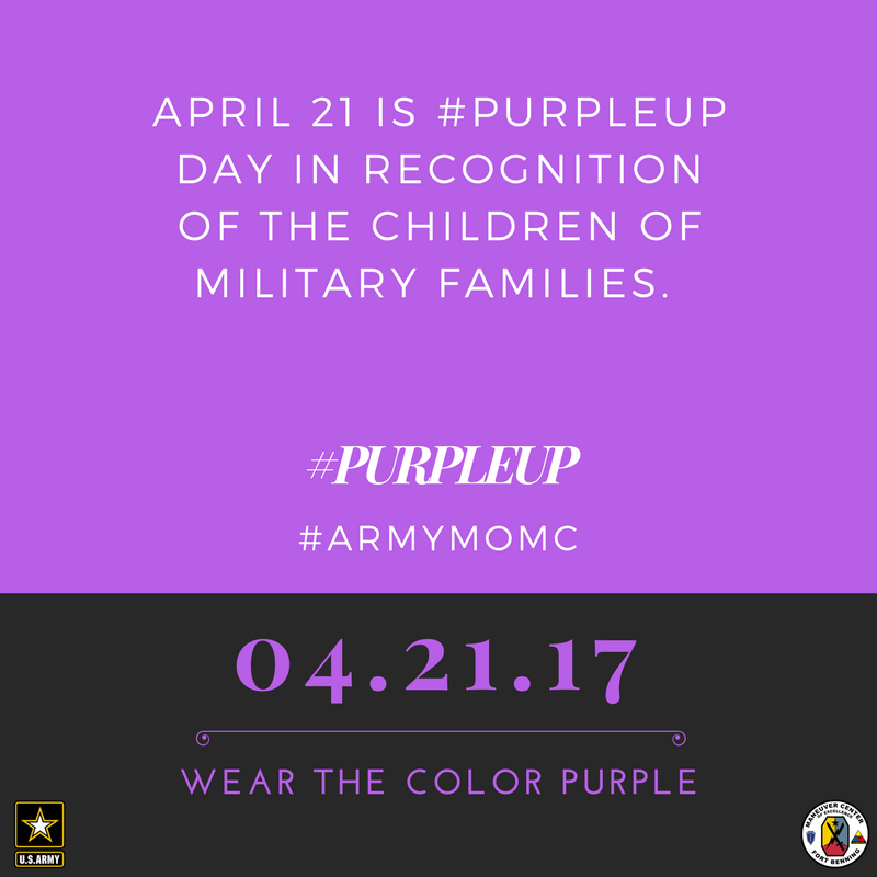April 21 is #PurpleUp Day. Wear Purple #ArmyMOMC https://t.co/BByCl1xACL