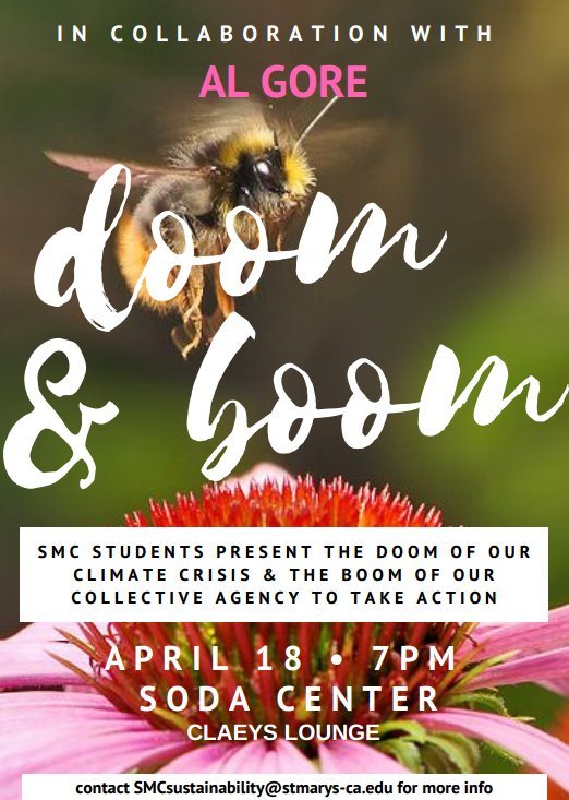 Listen to students present the latest findings about climate change tonight at 7 p.m. in the Claeys Lounge! #omgsmc #greengaels #EarthWeek https://t.co/sEqLC8u4xl
