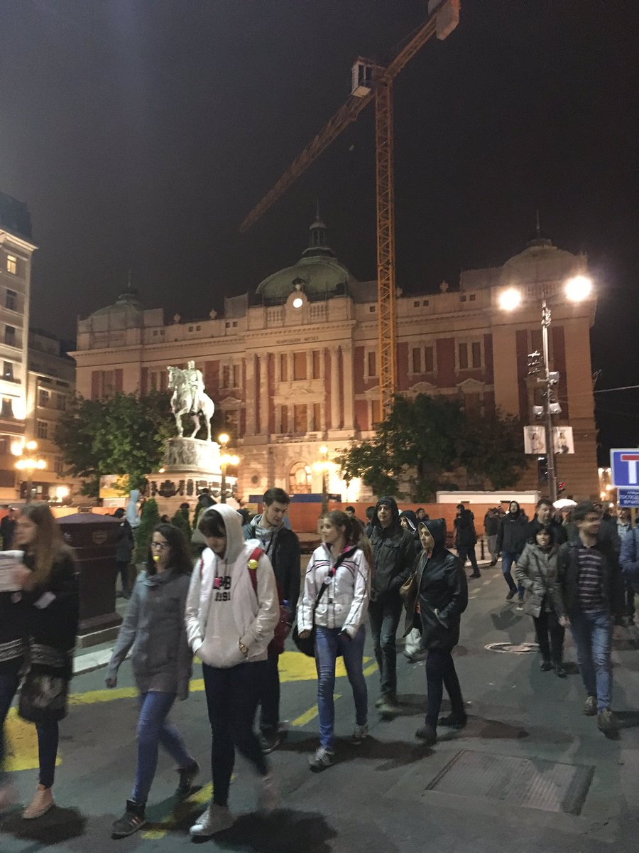 We want culture, not dictatorship in front of Serbia's National Museum, closed for more than a decade