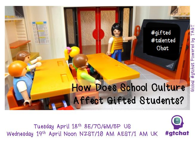 "T-10 till #gtchat - Today we'll be chatting about ""How Does School Culture Affect Gifted Students?"" https://t.co/CosoGJ6xdp"