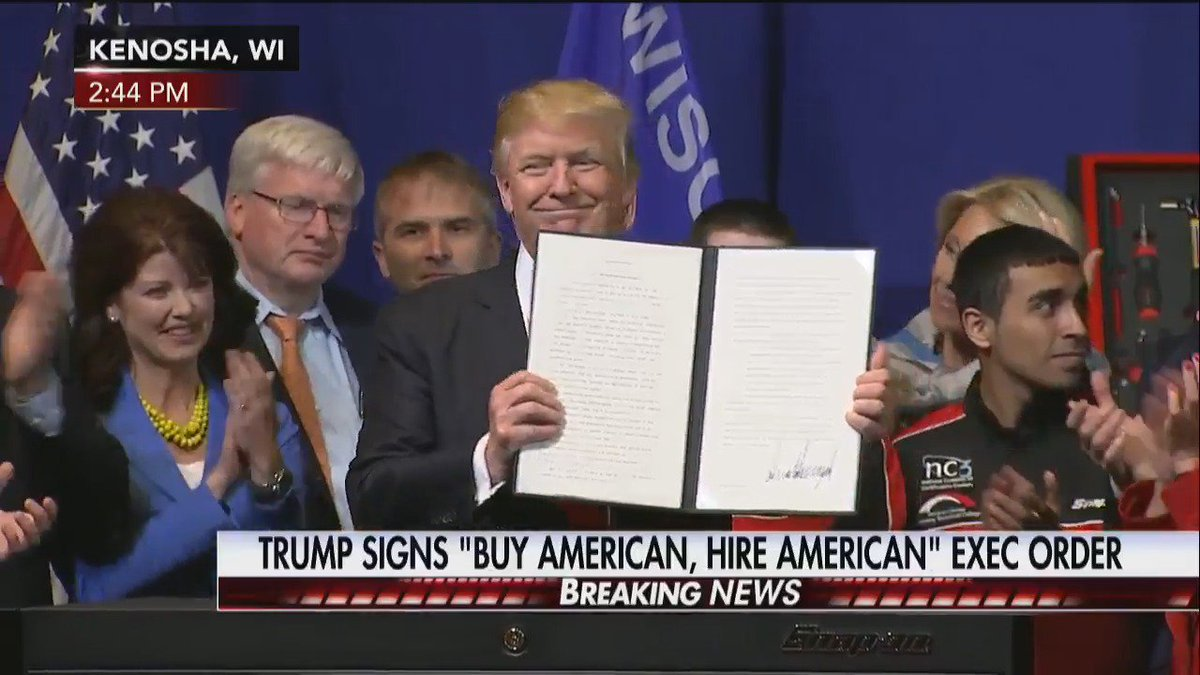 Video: President Trump signs Buy American, Hire American executive order.