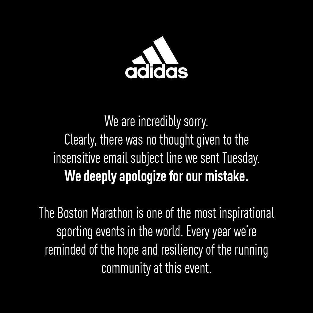 Adidas blundert met e-mail voor overlevers Boston Marathon
