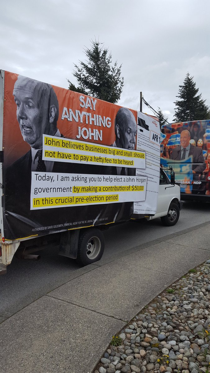 #BCLiberals van parked behind @jjhorgan #bcelxn17 campaign bus at even...