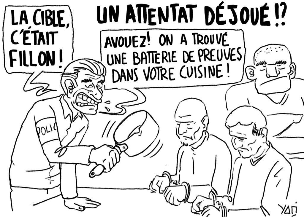 Sur le grill ! Source :  http:// tinyurl.com/l47buhl  &nbsp;   #attentat #Presidentielle2017 #dessindepresse #fillon #macron <br>http://pic.twitter.com/RVQC20UQfk