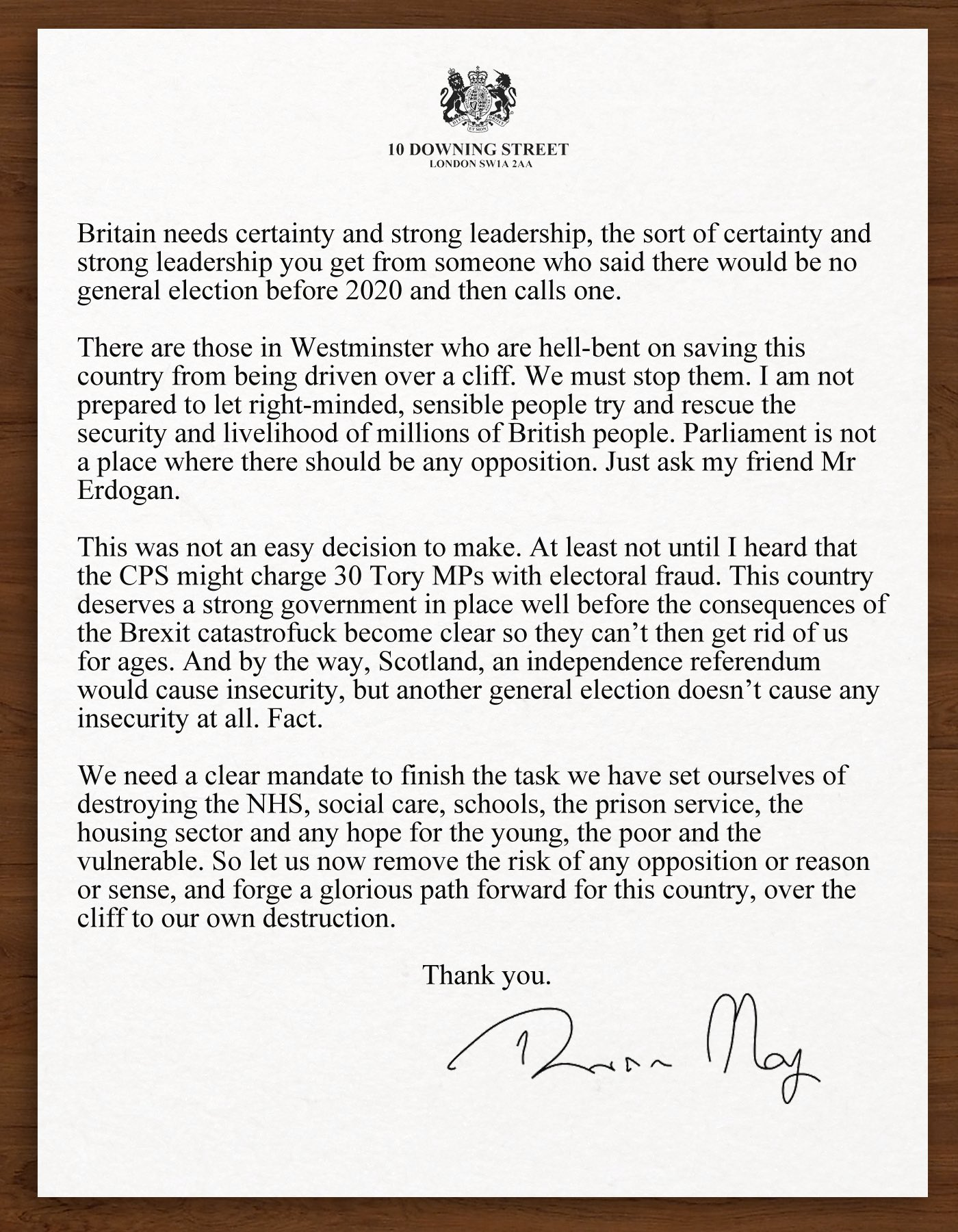 Theresa May's statement on the General Election in full. https://t.co/pA224P2XZh