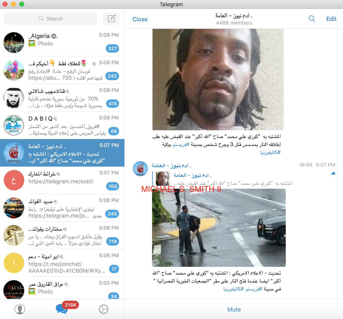 Here's another example of news spreading re possible terrorist attack in Fresno California on key Islamic State-linked Telegram channels