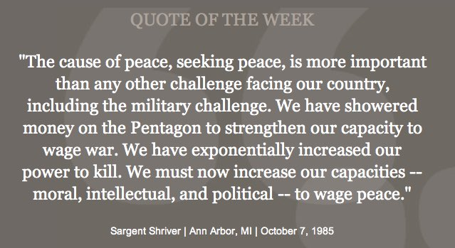 An important reminder from @RSargentShriver – peace should always be our primary goal. RT if you agree. https://t.co/PbxyMtEfVg
