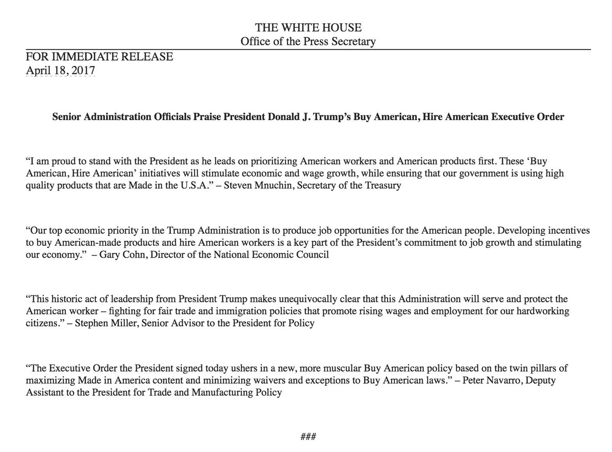 The White House just sent out an email with quotes praising Trump's executive order. The quotes … are from White House officials.