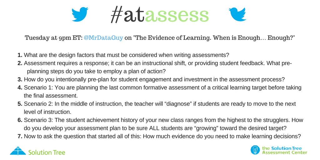 How much assessment evidence of learning do you need to make learning decisions? Join the live #atAssess chat NOW! #educationmatters https://t.co/Iou1k32iLL
