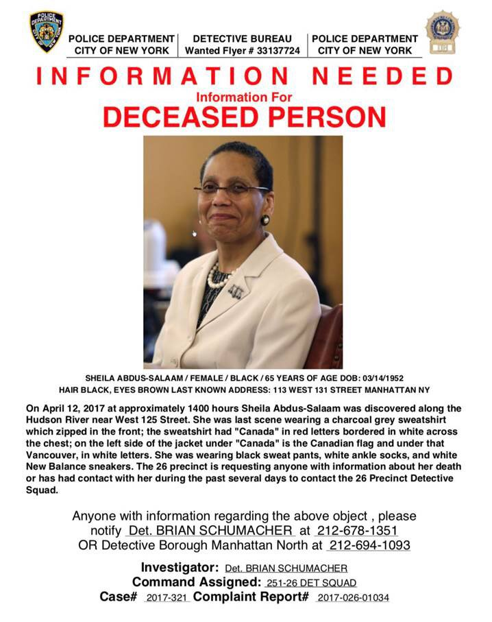 #BREAKING - death of Judge Sheila Abdus-Salaam now considered suspicious per #NYPD. #abc7ny