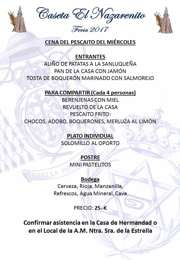Menú del Pescaíto de la Caseta el Nazarenito de la Feria de Dos Hermanas 2017