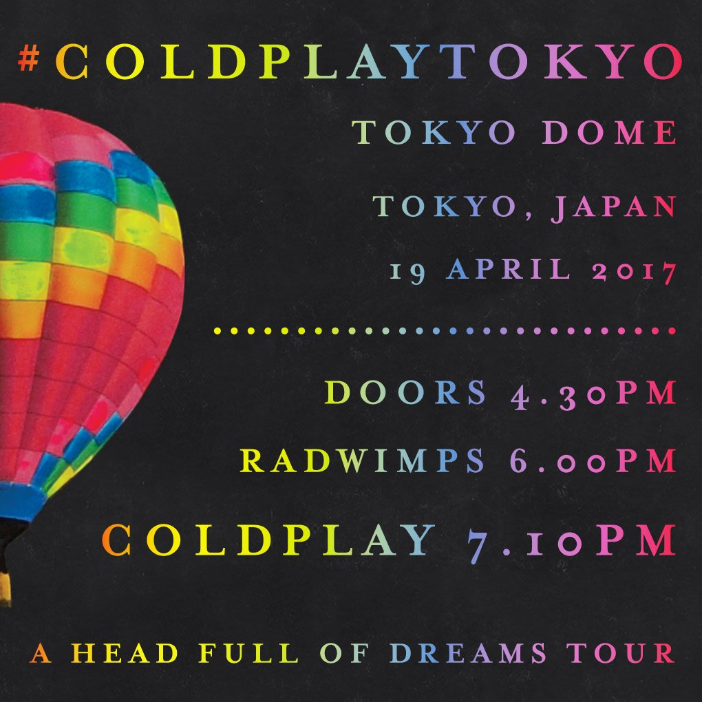 Here are the set times for tonight\'s #ColdplayTokyo show with @RADWIMPS. A #AHFODtour