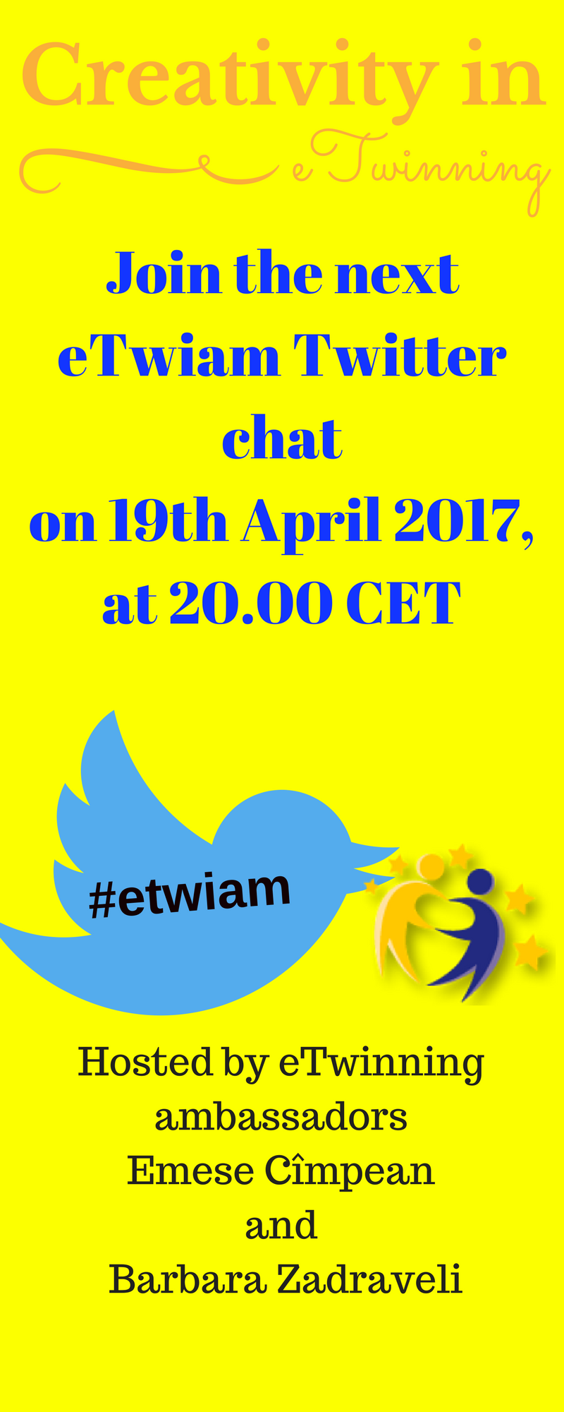 Creativity in eTwinning, on 19 April, at 20.00 CET. Join us! #etwiam https://t.co/QRo3W2EJAh