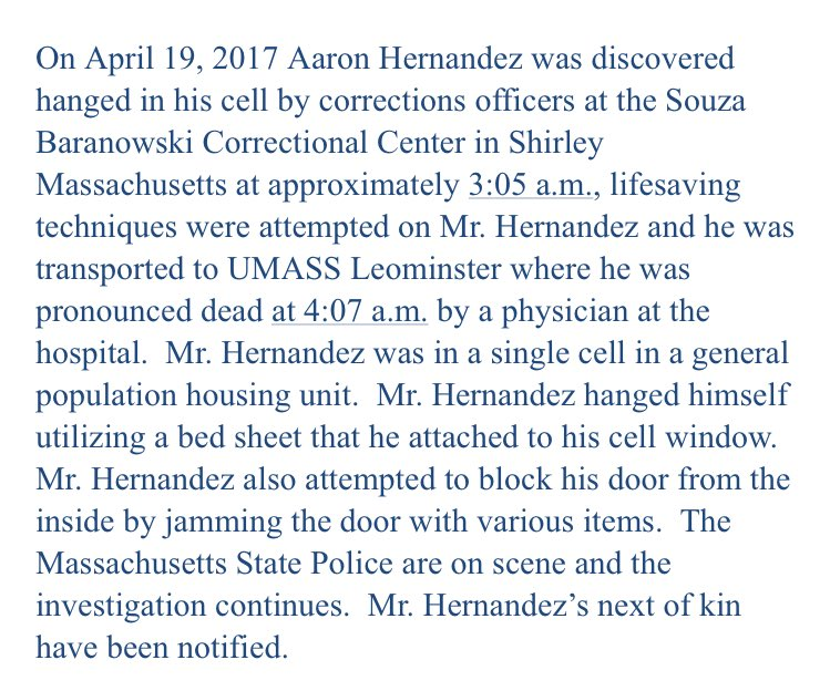 BREAKING: Aaron Hernandez commits suicide in prison. Statement from MA Dept of Corrections. https://t.co/M4XutLxNLU