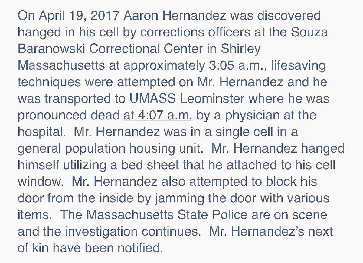 Serving a life sentence for murder, Aaron Hernandez has hanged himself, per Mass Dept of Corrections. https://t.co/NmnwMkt2kK