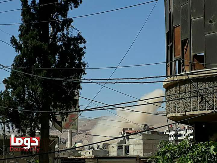 Airstrikes on residential areas of Douma city in E.ghouta In Damascus