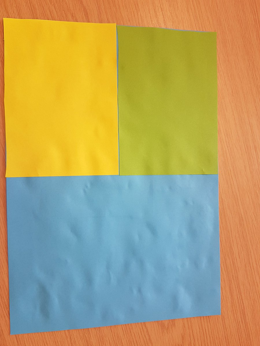 Another example - 1/2 blue, 1/4 yellow and 1/4 green ☺ @nrichmaths