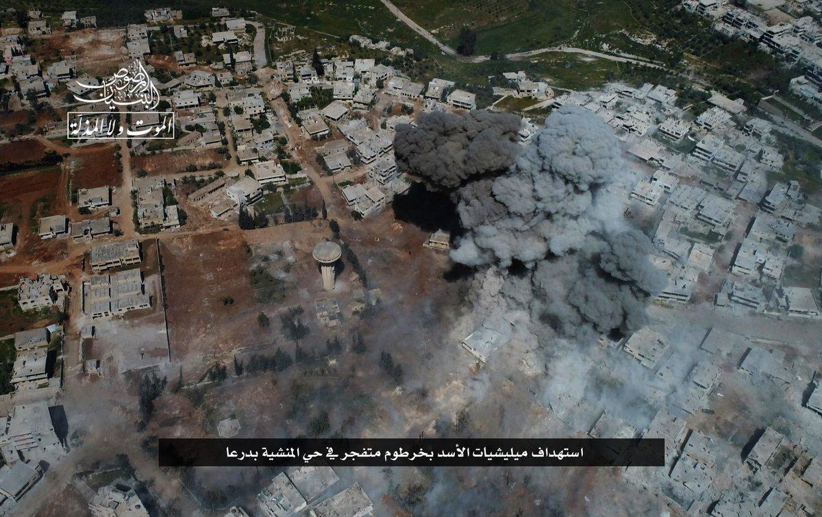Syria, Daraa: Rebels blow up government defences at entrance to Sajnah