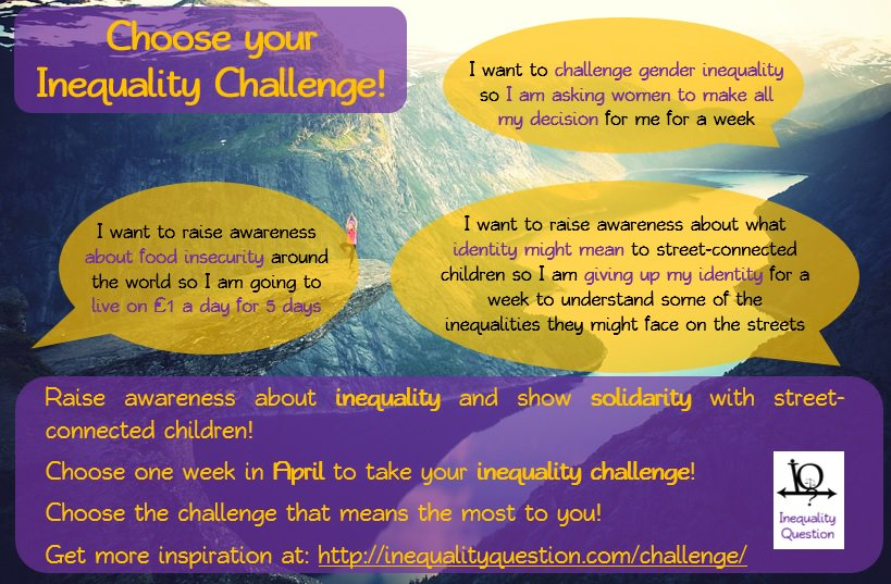 It's #April and it's time to #challengeyourself to raise awareness abot inequality. Take on an #inequalitychallenge! https://t.co/mffiJ90Zam