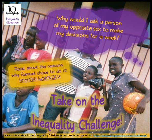 Challenge #gender #inequality and take on the #Inequalitychallenge! https://t.co/F1Sw4diQWR