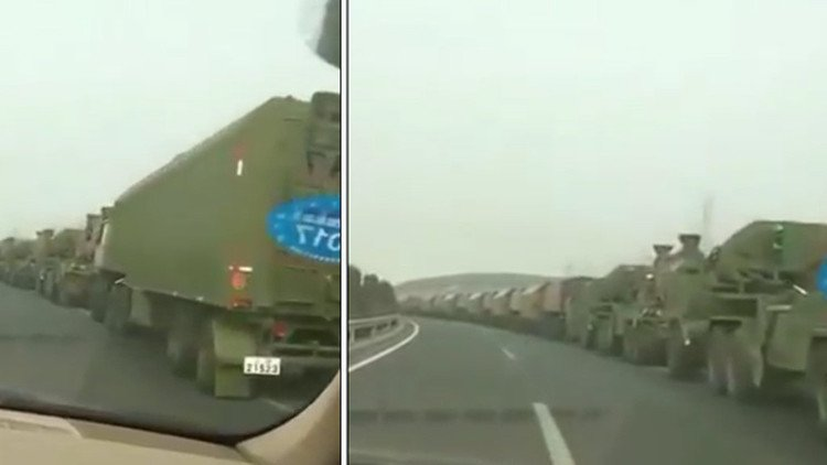 Long convoy of Chinese military in the areas near Korean peninsula