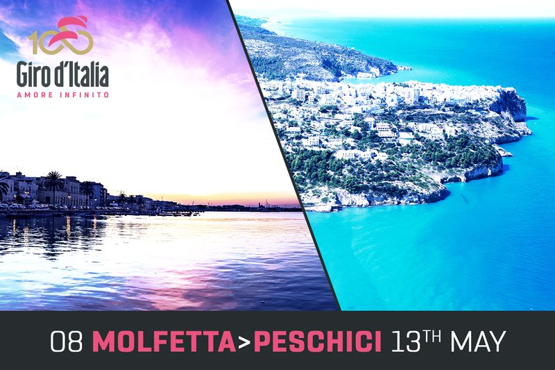 GIRO d'Italia 2017 DIRETTA Oggi: Molfetta Peschici Streaming Live Tappa 8, altimetria, mappa percorso, ultimi km arrivo