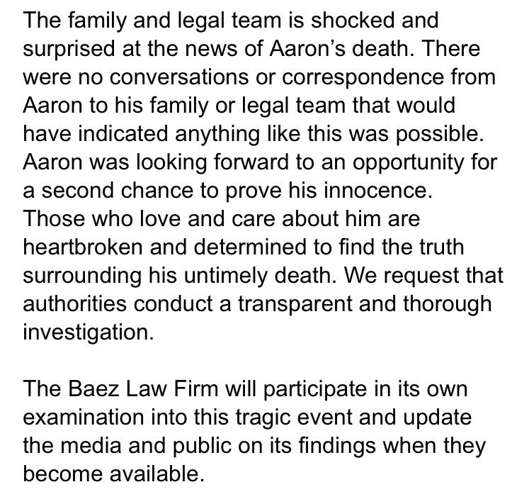 NEW: Statement from #Hernandez&#39;s attorney Jose Baez: #NBCBoston<br>http://pic.twitter.com/AJesrGz1ly