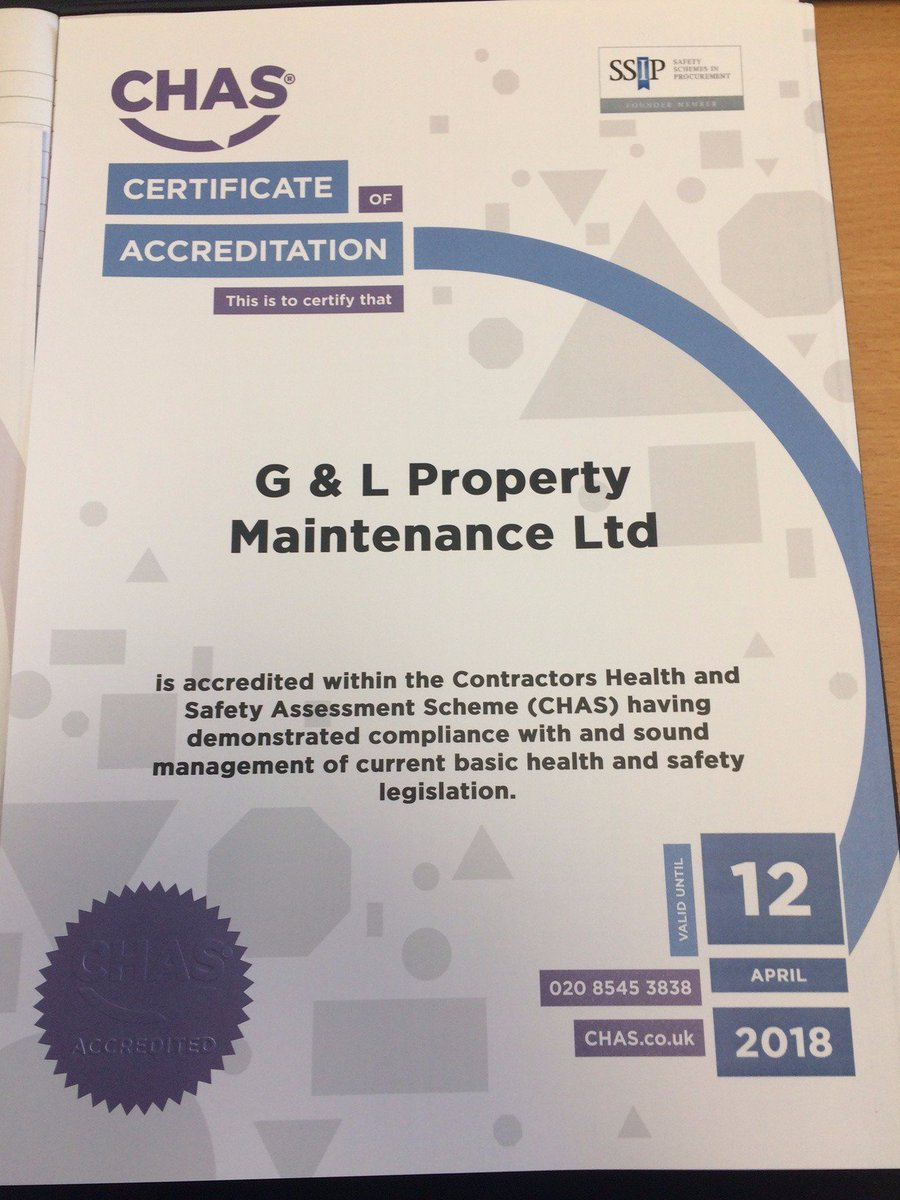 Happy to receive our  #CHAS certification, which has been renewed for another year #Construction #Building #healthandsafety #SSIP<br>http://pic.twitter.com/c85h7WIL5m