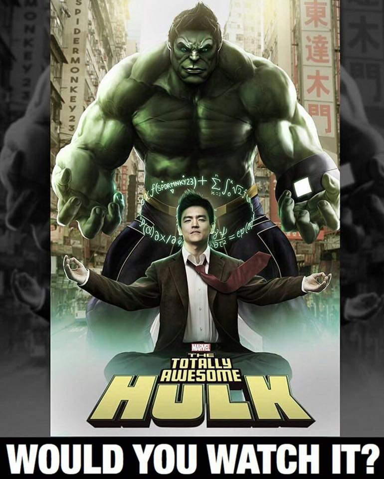 Comic fans, what would you think if #Marvel did a Totally Awesome #Hulk movie w/ John Cho? I could see it.  <br>http://pic.twitter.com/rNhcbX2v3d