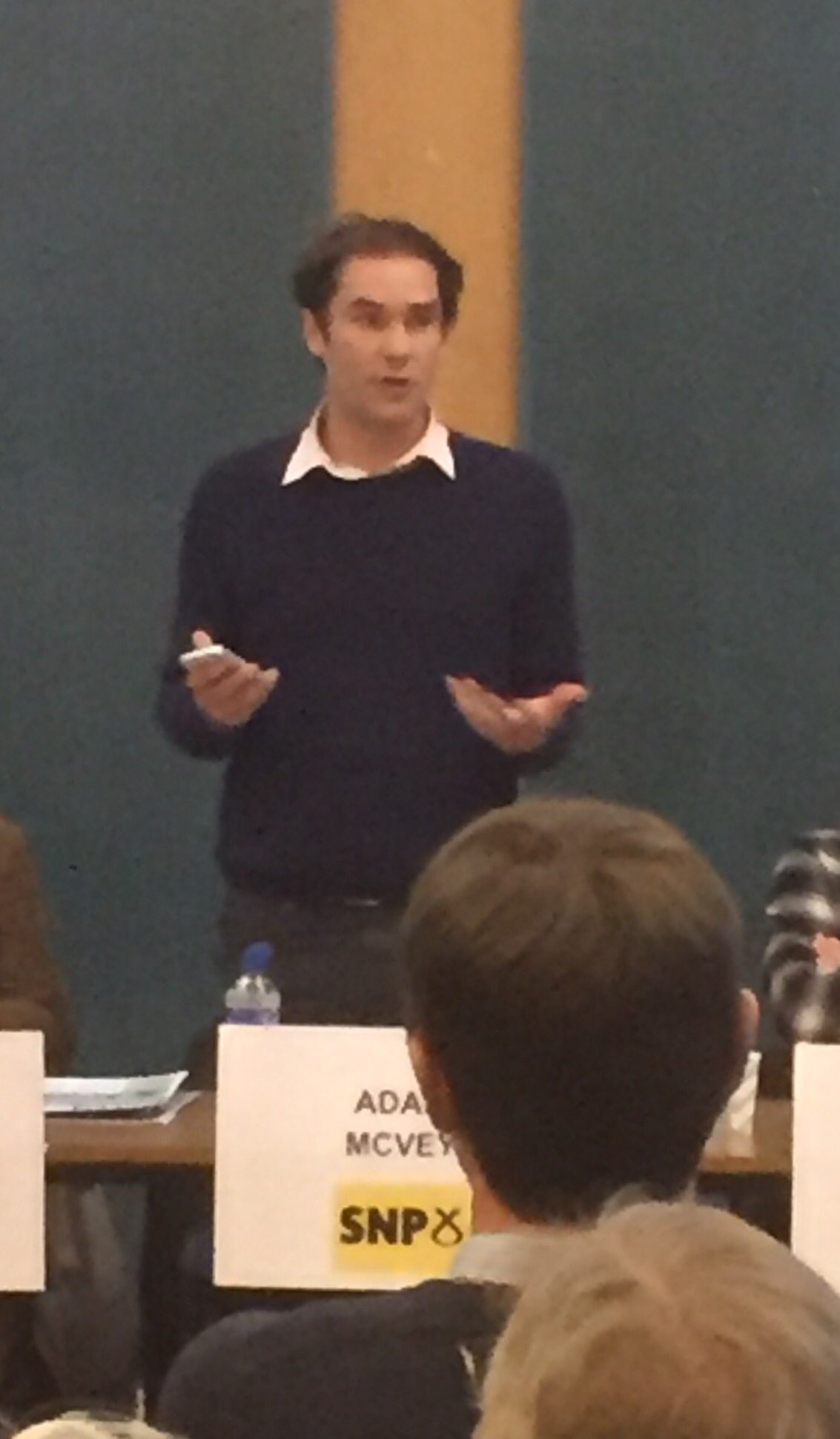 Second to introduce themself is @adamrmcvey #LeithHustings #Leith https://t.co/w7Qc20u7am