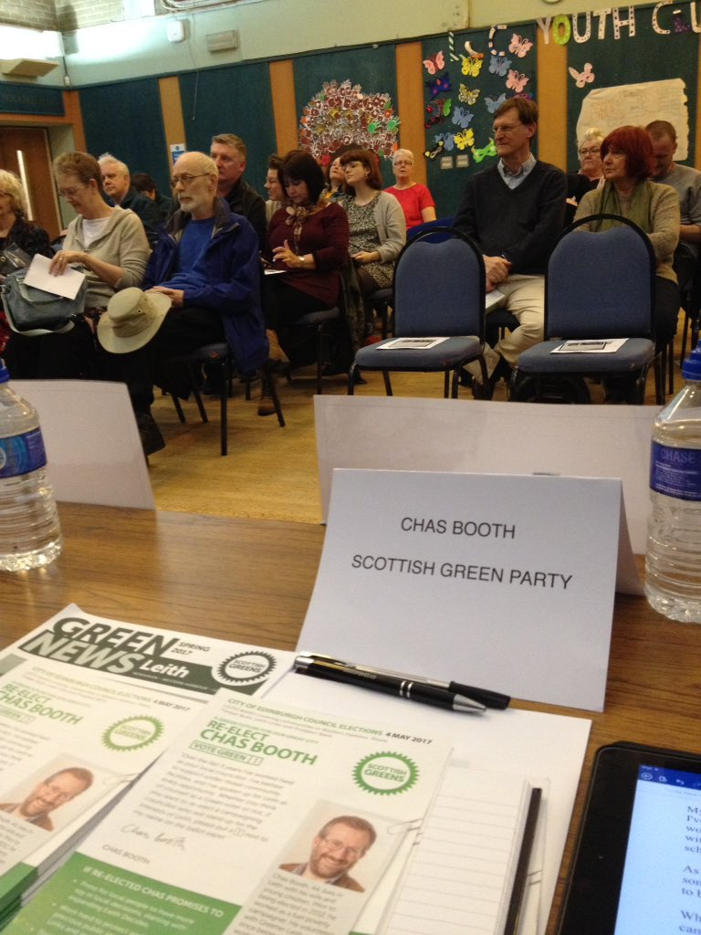 View from the table at #LeithHustings - room filling up & looking forward to a good debate. #activegreens #powerinyourhands https://t.co/oHBp3zZJEO