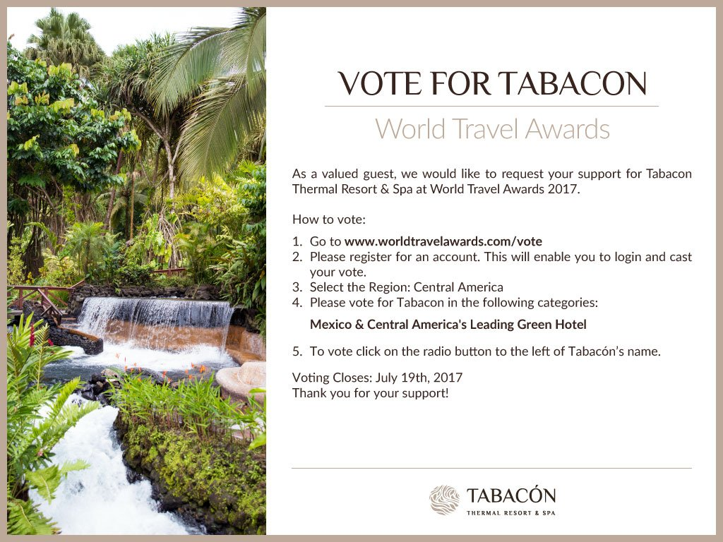 """tabacon resort on twitter: """"love our green hotel & resort?vote for"""