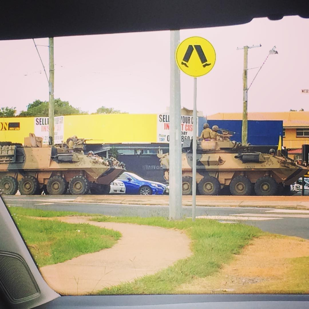 Military vehicles spotted on the streets of Brisbane, Australia said to be very rare to see